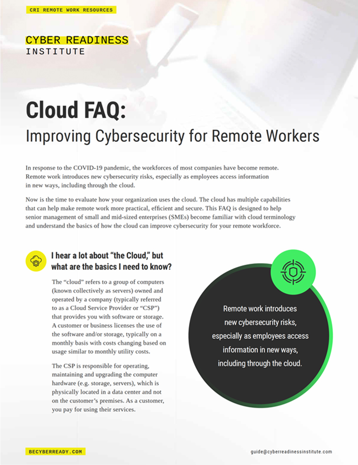 CRI Resources Cloud FAQ Cover